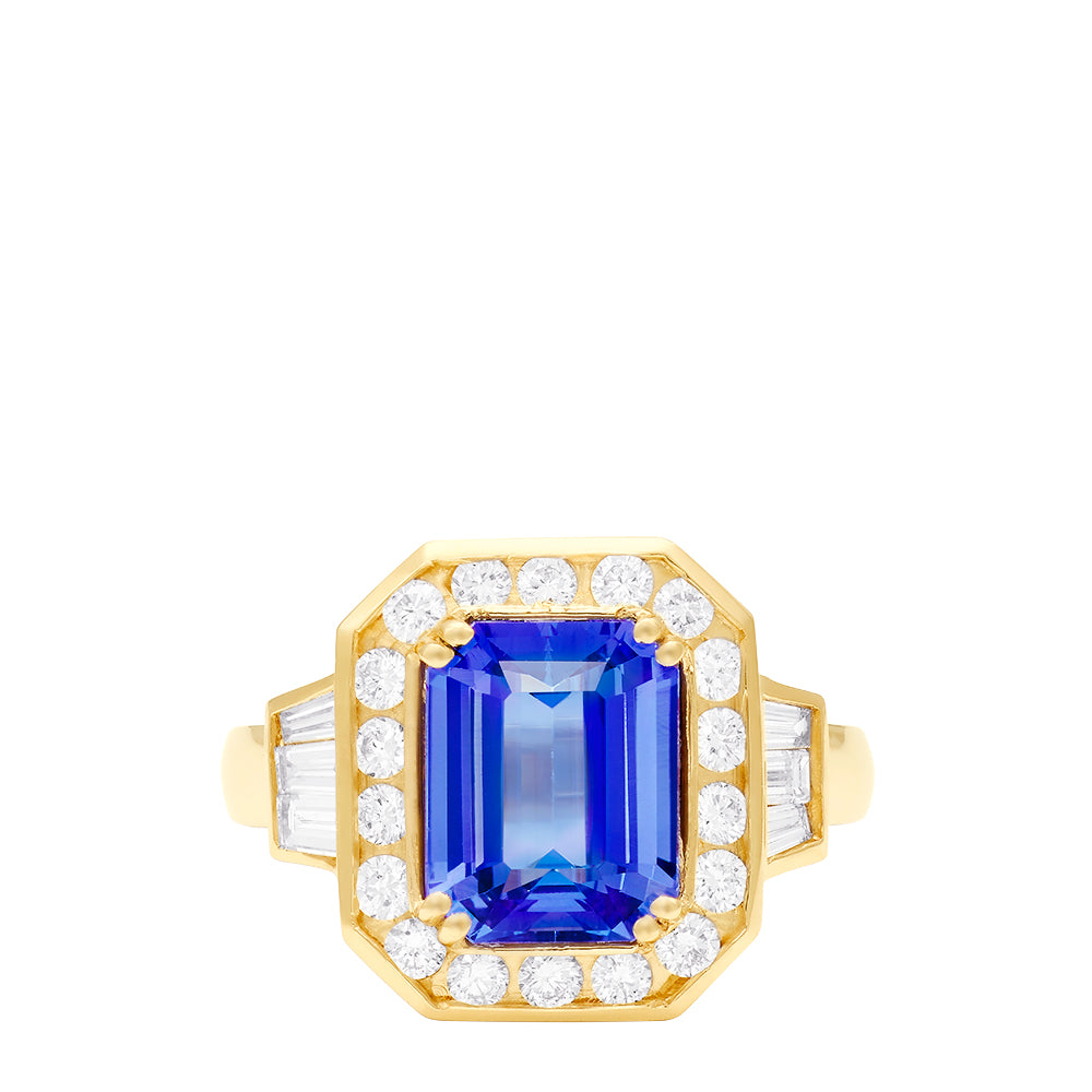 Effy Limited Edition 14K Yellow Gold Tanzanite and Diamond Ring, 3.69 TCW