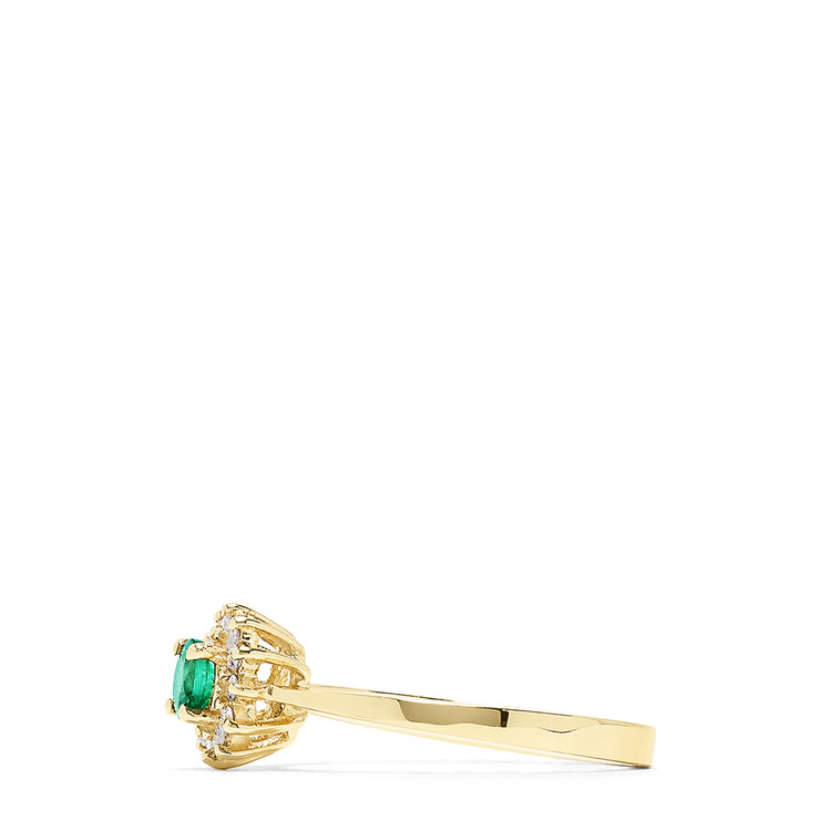 Effy 14K Yellow Gold Emerald and Diamond Ring, 0.36 TCW