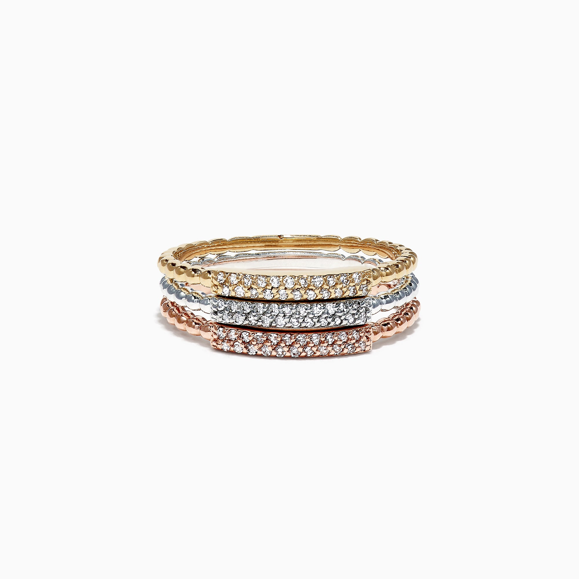 Effy Trio 14K Tri Color Gold 3 Stack Diamond Ring, 0.19 TCW