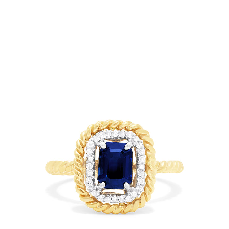 Effy 14K Yellow Gold Blue Sapphire and Diamond Ring, 1.16 TCW