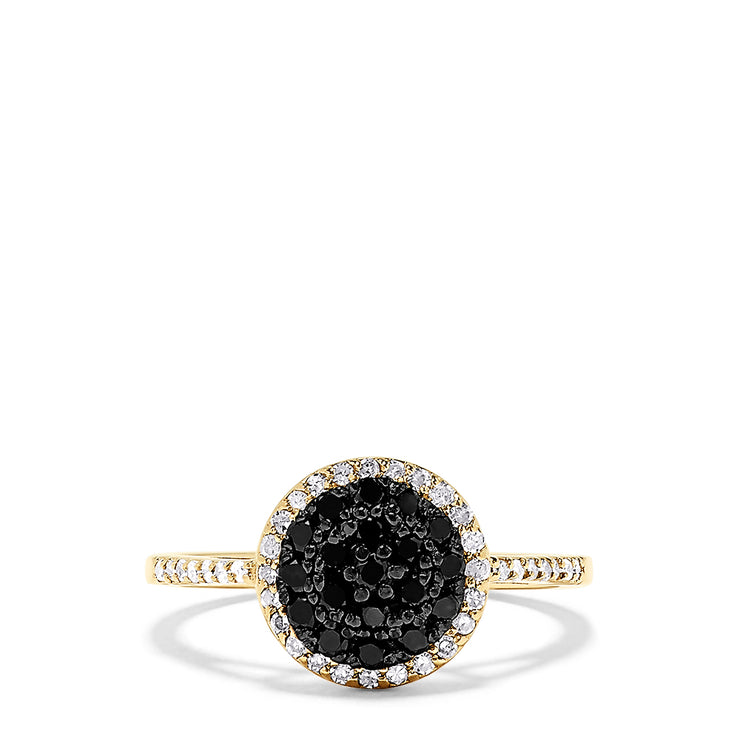 Effy 14K Yellow Gold Black and White Diamond Ring, 0.51 TCW