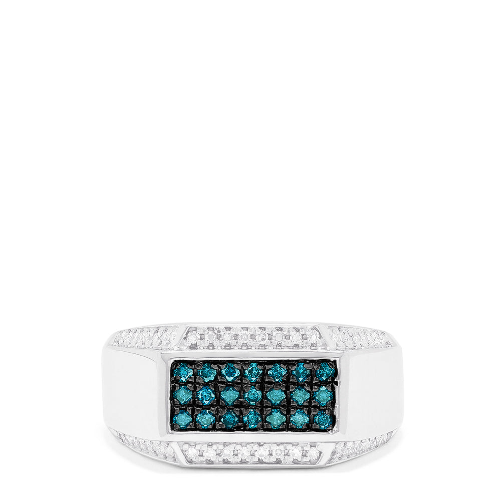 Effy Men's 14K White Gold Blue and White Diamond Ring, 0.50 TCW