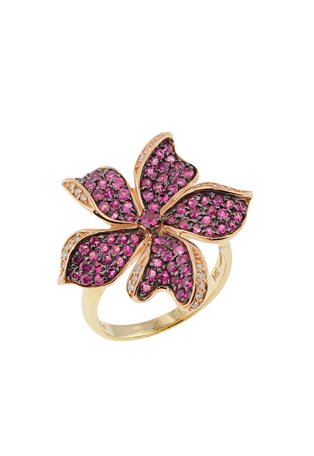 14K Yellow and Rose Gold Ruby and Diamond Flower Ring, 1.27 TCW