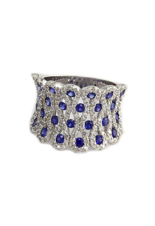 Effy 14K White Gold Blue Sapphire and Diamond Ring, 2.32 TCW