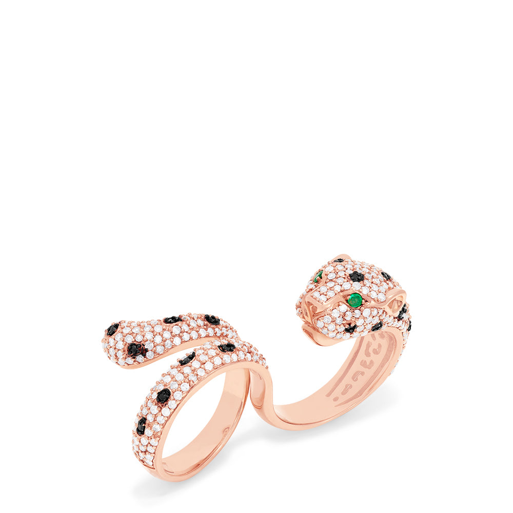 Effy Signature 14K Rose Gold Diamond & Emerald Double Finger Ring, 1.91 TCW
