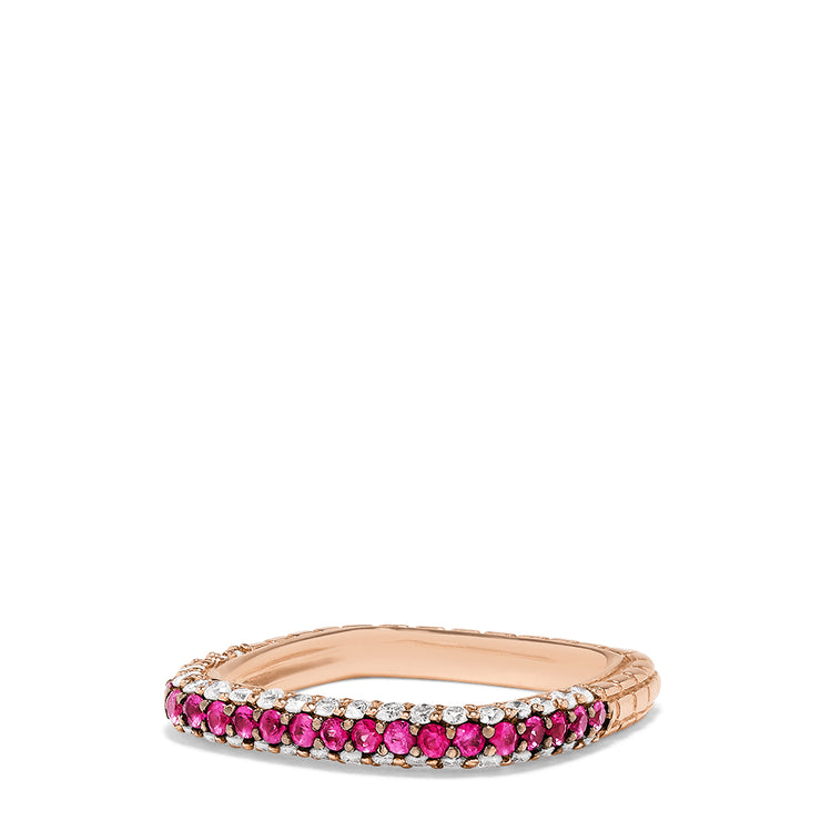 Effy 14K Rose Gold Ruby and Diamond Square Ring, 0.49 TCW