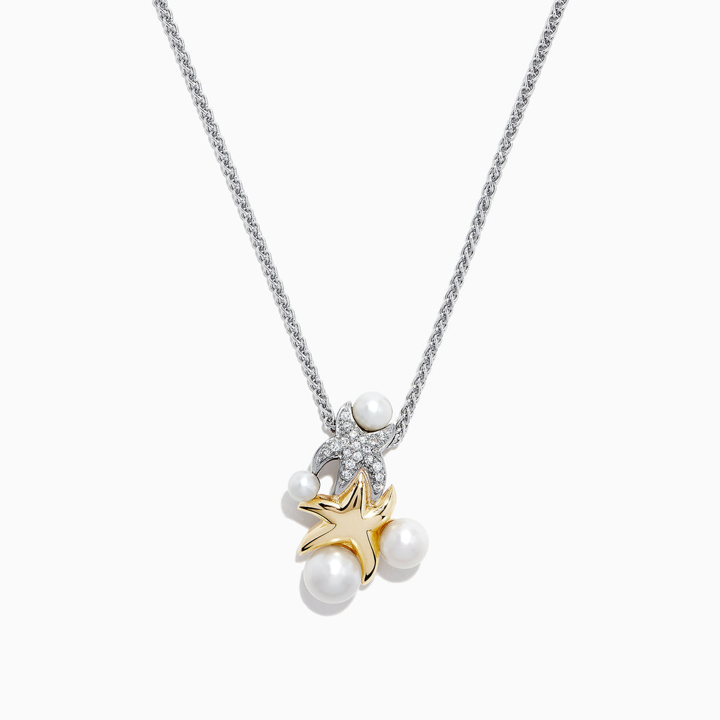 Effy S. Silver & 14K Gold Cultured Pearl and Diamond Starfish Pendant, 0.09 TCW