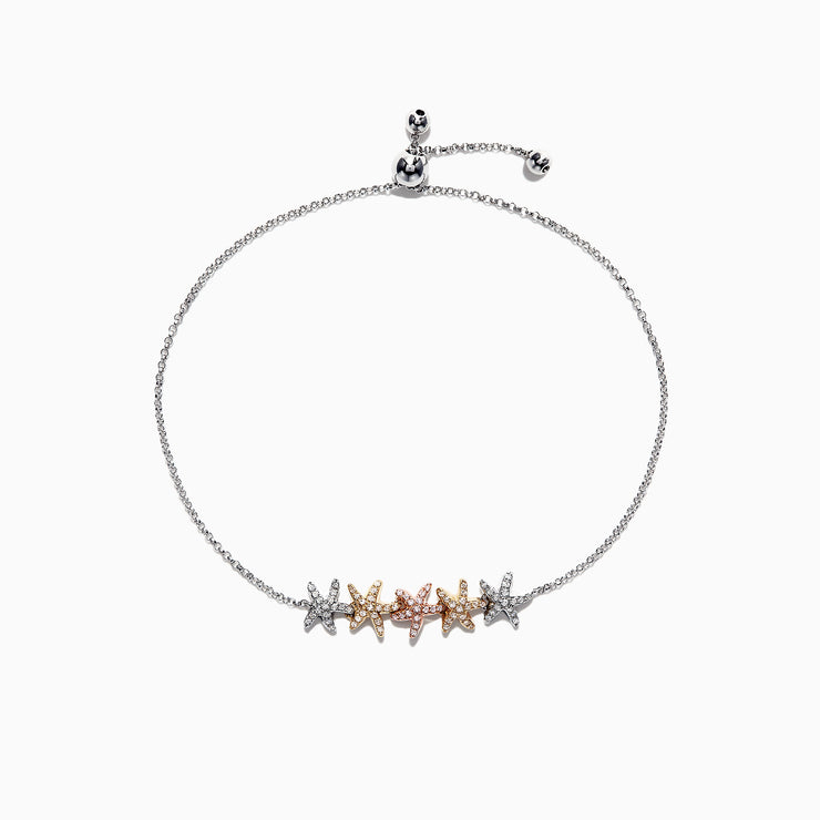 Effy Seaside 14K Tri Color Gold Diamond Starfish Bracelet, 0.28 TCW