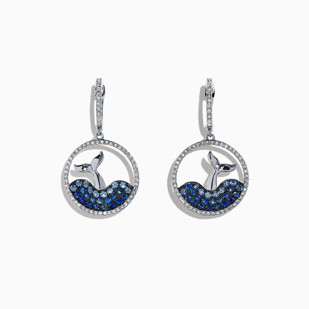 Effy Seaside 14K Gold Sapphire & Diamond Whale's Tail Earrings, 1.32 TCW