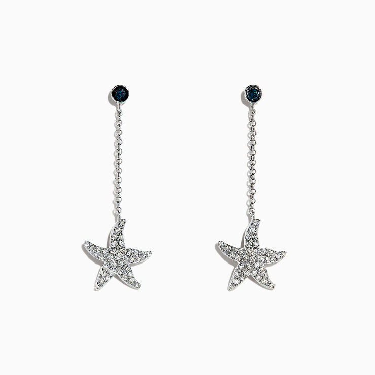 Effy Seaside 14K White Gold Diamond Starfish Drop Earrings, 0.31 TCW
