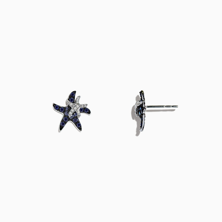 Effy Seaside 14K White Gold Sapphire & Diamond Starfish Earrings, 0.71 TCW