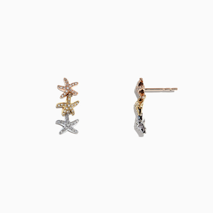 Effy Seaside 14K Tri Color Gold Diamond Starfish Earrings, 0.33 TCW