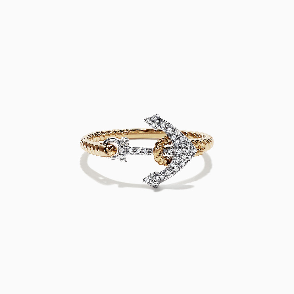 Effy Seaside 14K Two Tone Gold Diamond Anchor Ring, 0.12 TCW