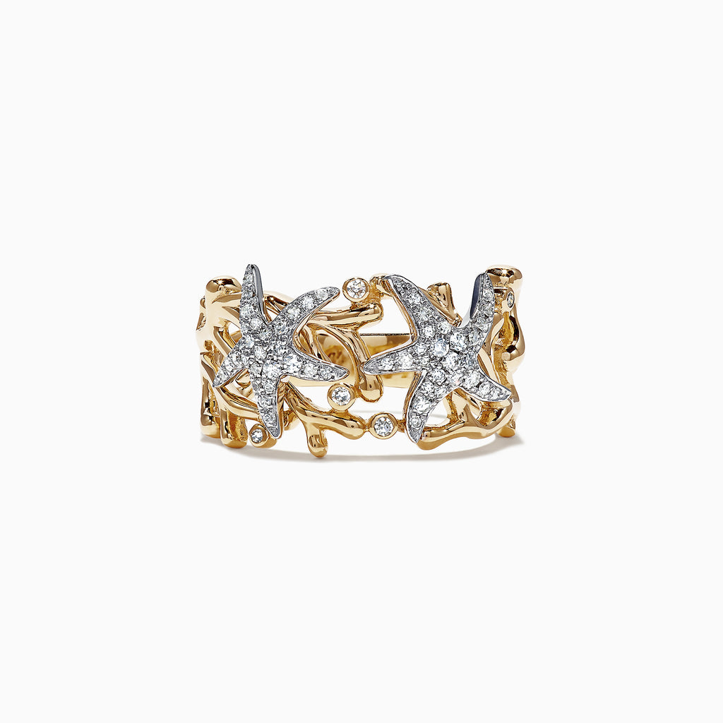 Effy Seaside 14K Two Tone Gold Diamond Starfish Ring, 0.26 TCW