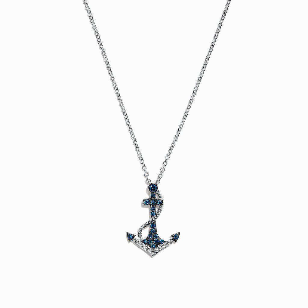 Effy Seaside 14K White Gold Blue & White Diamond Anchor Pendant, 0.20 TCW