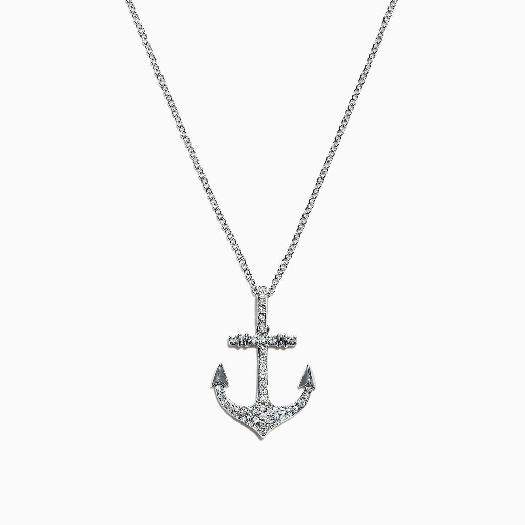 Effy Seaside 14K White Gold Diamond Anchor Pendant, 0.21