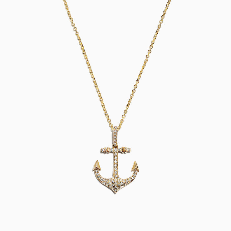 Effy Seaside 14K Yellow Gold Diamond Anchor Pendant, 0.21 TCW