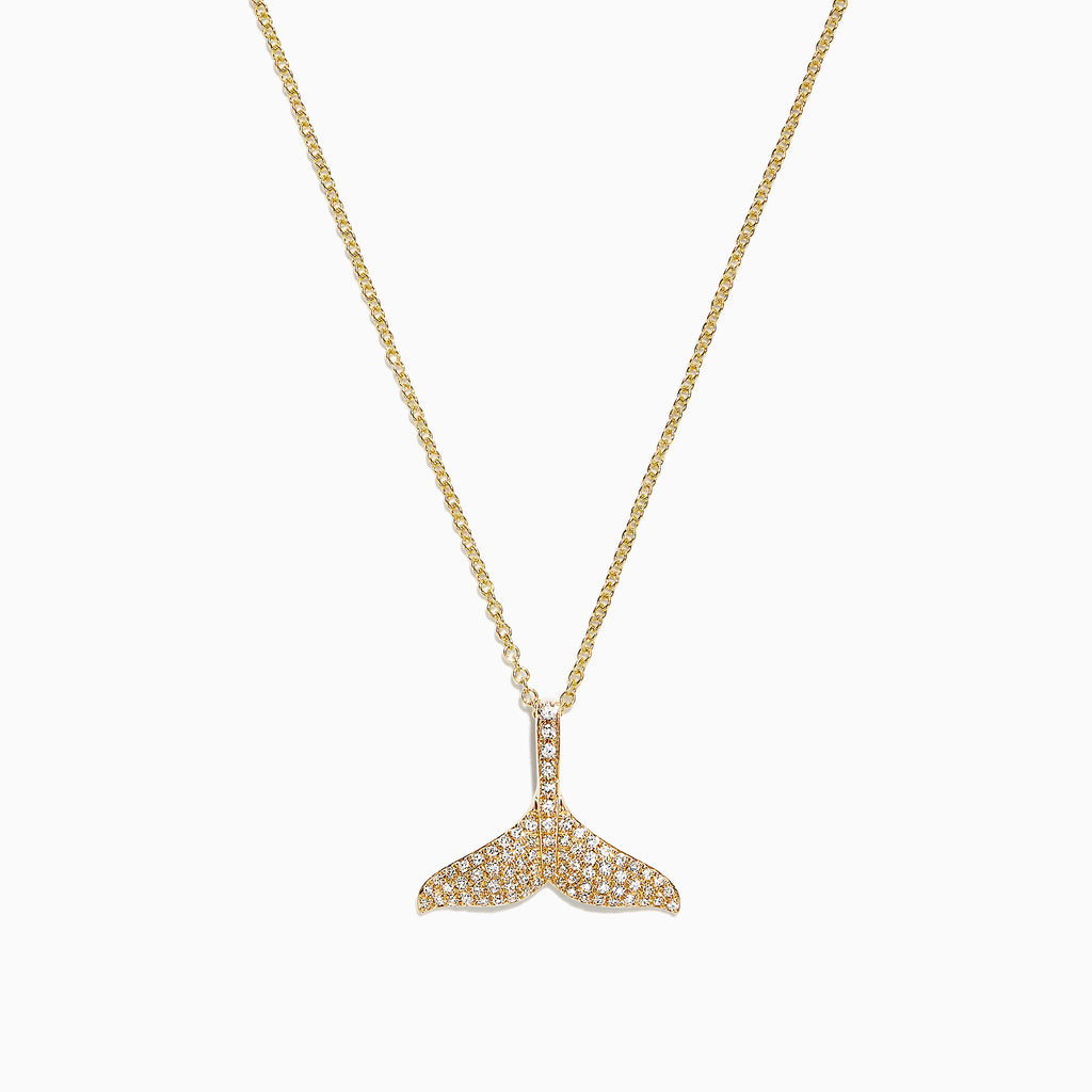 Effy Seaside 14K Yellow Gold Diamond Whale's Tail Pendant, 0.28 TCW