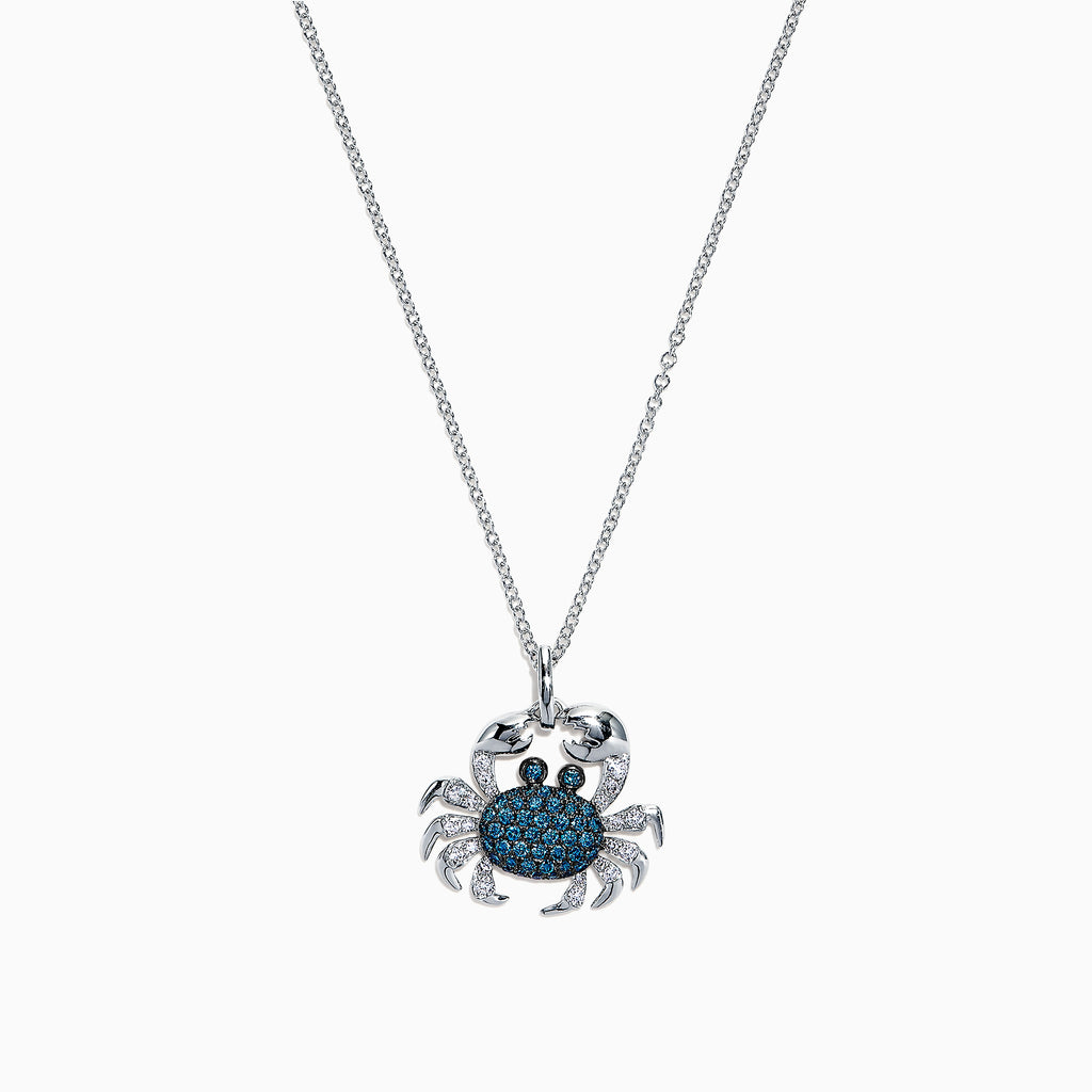 Effy Seaside 14K White Gold Blue & White Diamond Crab Pendant, 0.42 TCW
