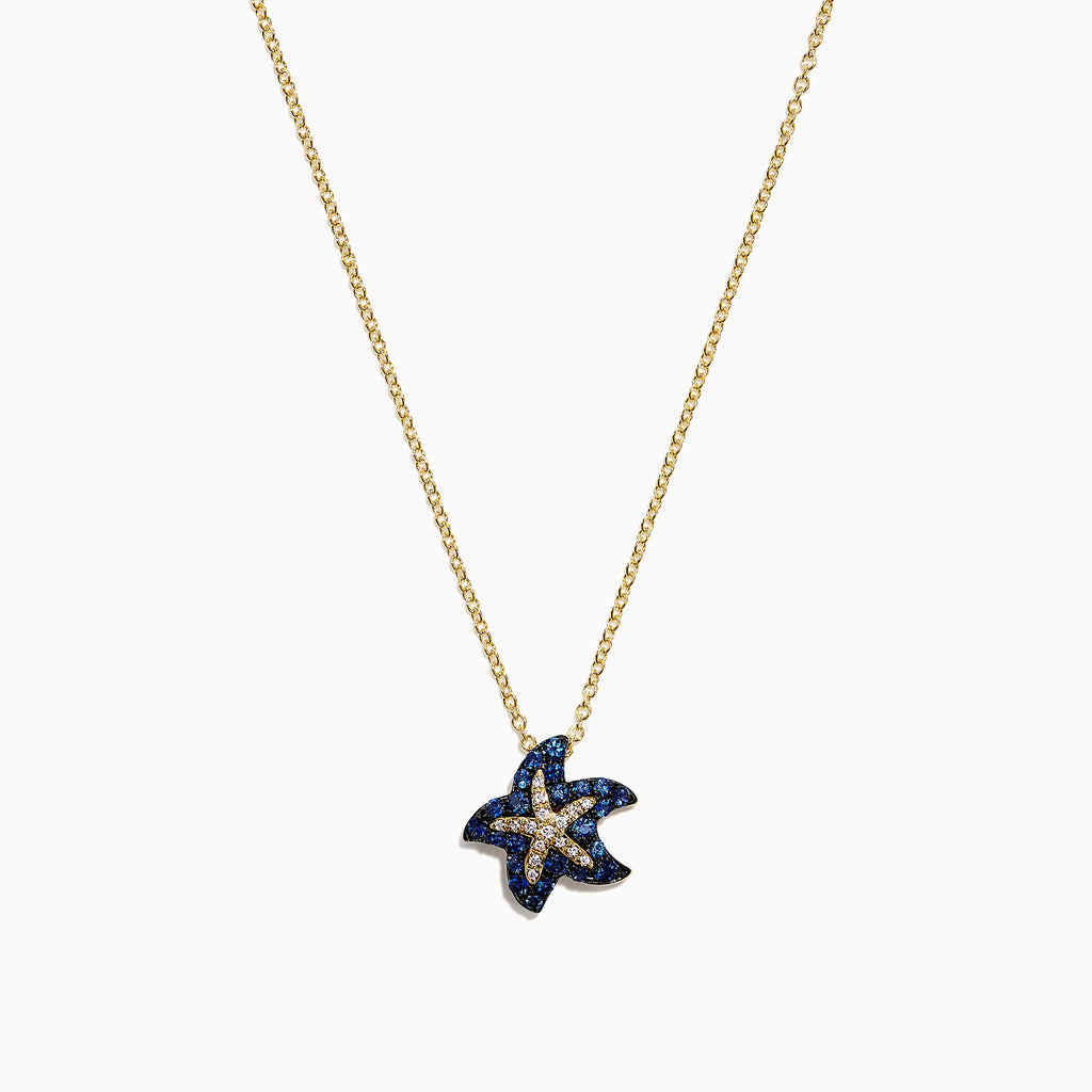 Effy Seaside 14K Yellow Gold Sapphire & Diamond Starfish Pendant, 0.41 TCW