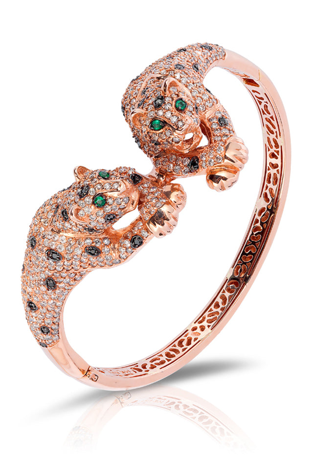 Signature Rose Gold Diamond & Emerald Bangle, 7.01 TCW