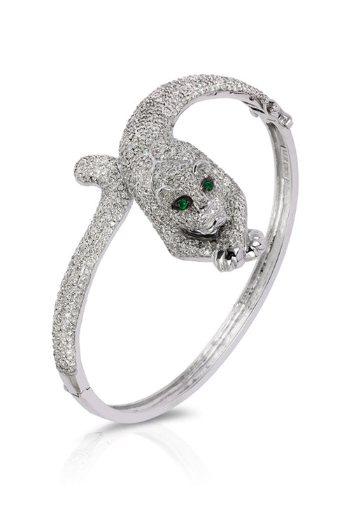 Signature 14K White Gold Diamond and Emerald Bangle, 5.07 TCW
