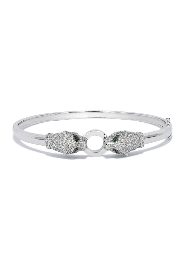 Effy Signature 14K White Gold Diamond and Emerald Bangle, 1.29 TCW