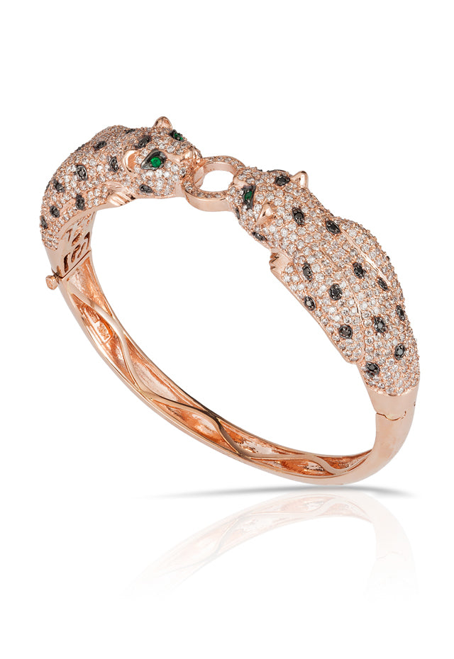 Signature Rose Gold Diamond & Emerald Bangle, 7.08 TCW
