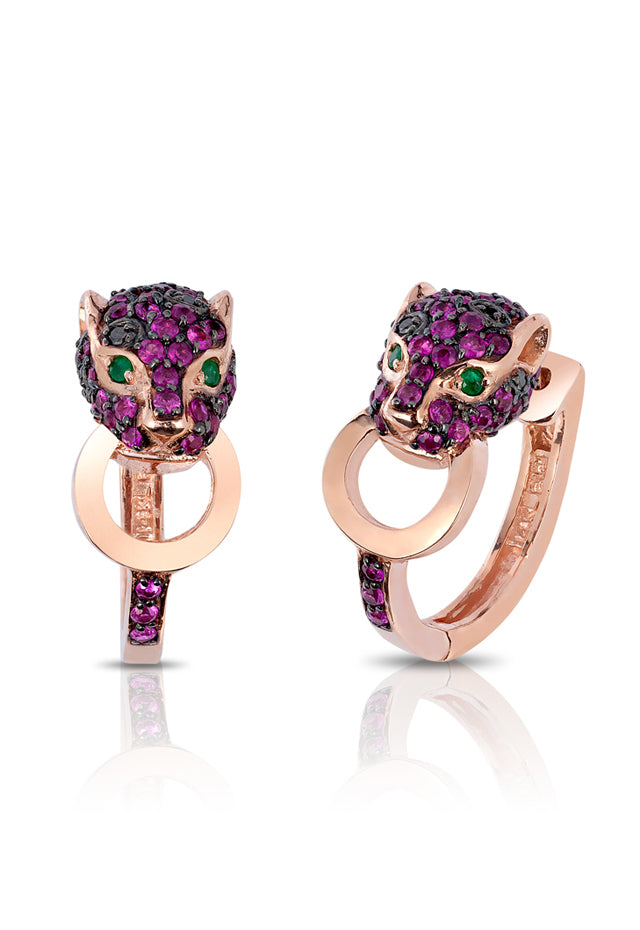 Effy Signature 14K Rose Gold Ruby, Black Diamond and Emerald Earrings