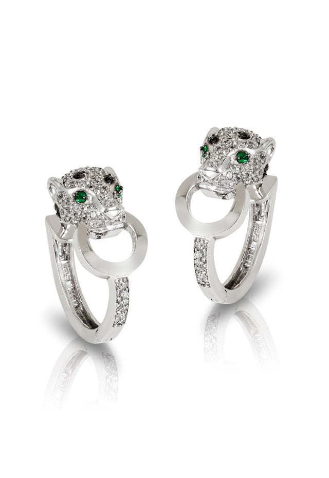 Effy Signature 14K White Gold Diamond and Emerald Earrings, 0.89 TCW