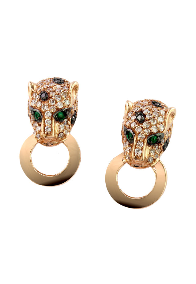 Effy Signature 14K Rose Gold Diamond & Emerald Earrings, 0.65 TCW