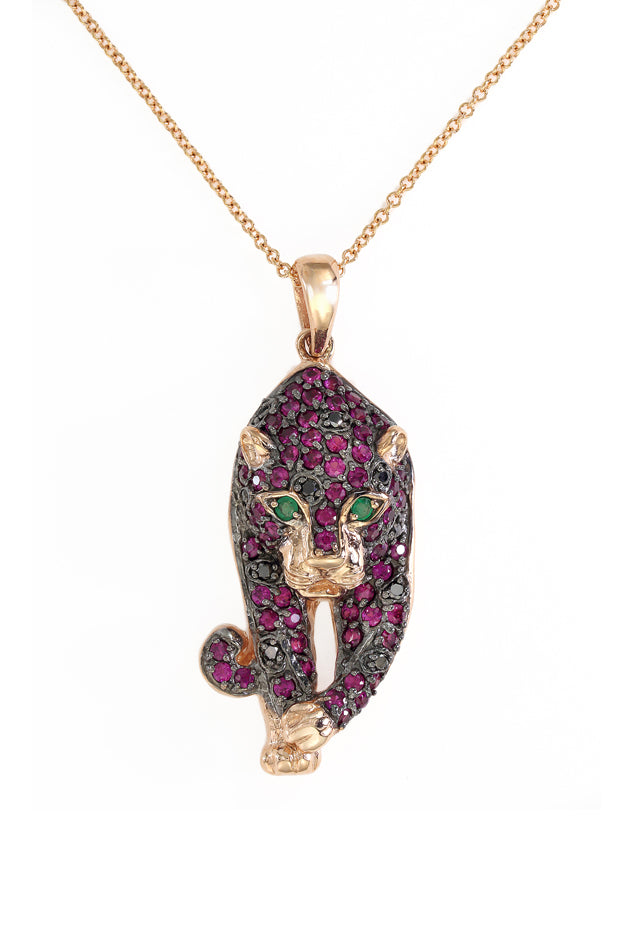 Signature Rose Gold Ruby, Diamond & Emerald Pendant
