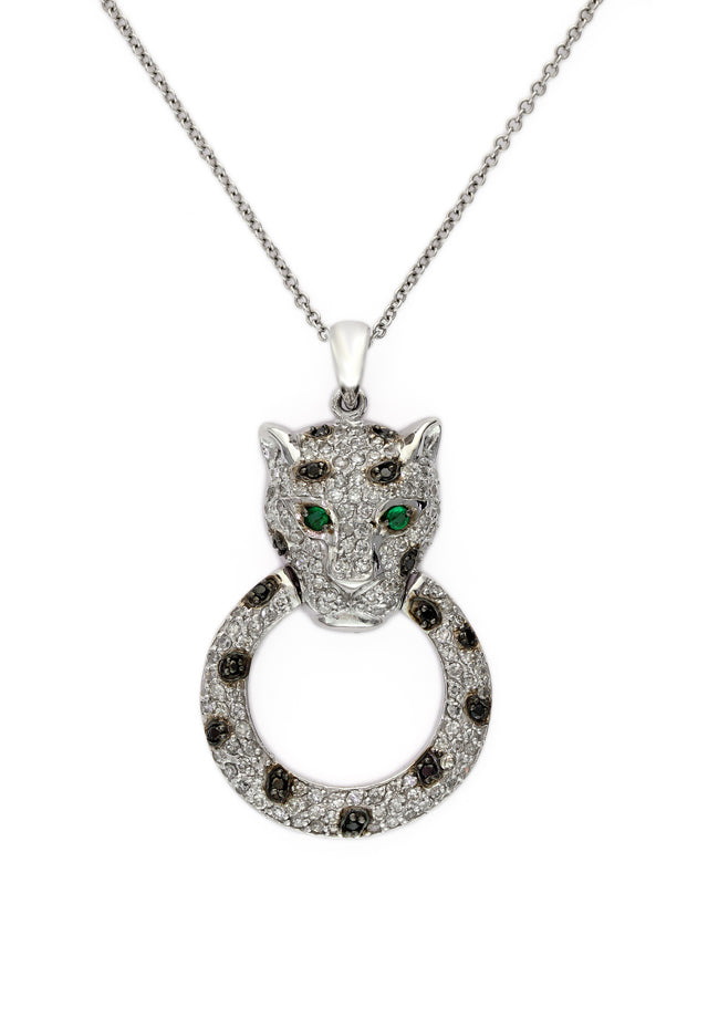 Signature White Gold Diamond & Emerald Pendant, .79 TCW