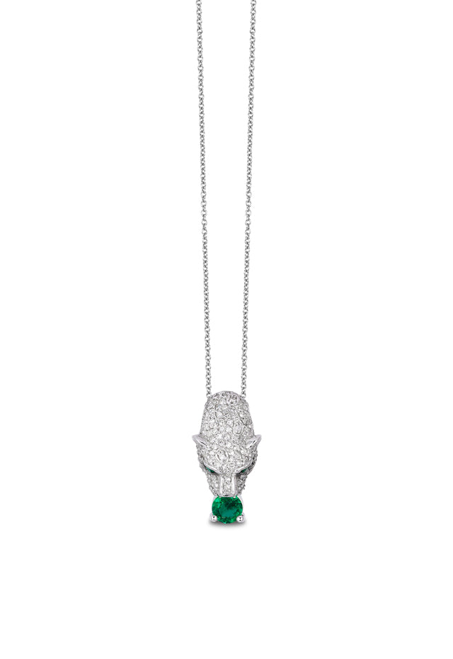 Effy Signature 14K White Gold Diamond and Emerald Pendant, 0.82 TCW
