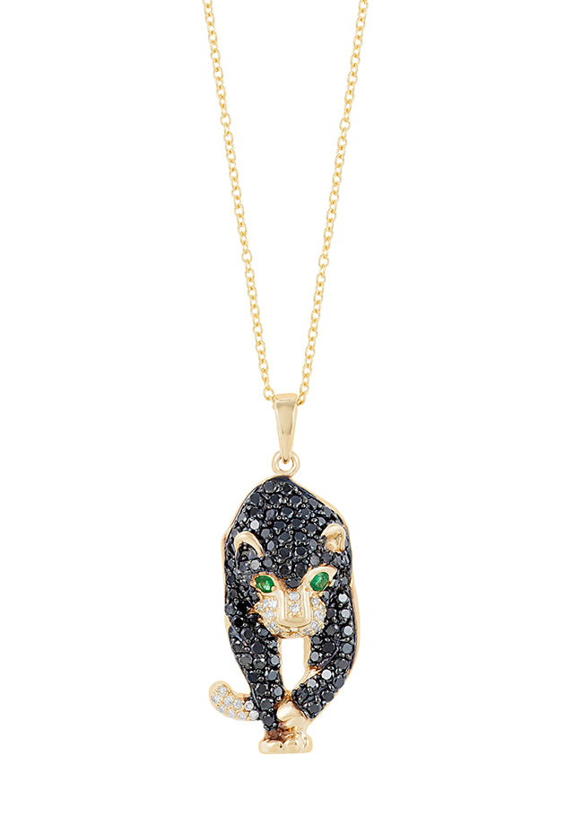 Effy Signature 14K Yellow Gold Black Diamond and Emerald Pendant, 0.44 TCW