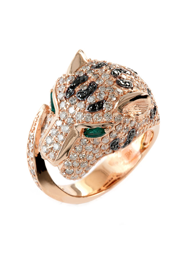 Signature Rose Gold Diamond and Emerald Ring, 2.89 TCW