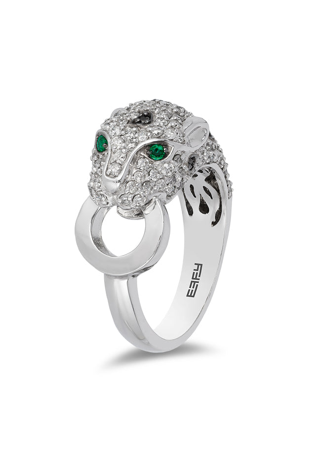 Effy Signature 14K White Gold Diamond and Emerald Ring, 1.40 TCW