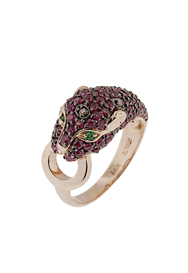 Effy Signature 14K Gold Ruby, Black Diamond & Emerald Ring, 2.17 TCW