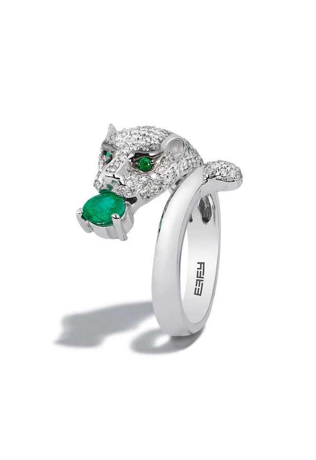 Effy Signature 14K White Gold Diamond and Emerald Ring, 1.16 TCW