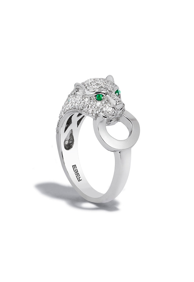 Effy Signature 14K White Gold Diamond and Emerald Ring, 0.66 TCW