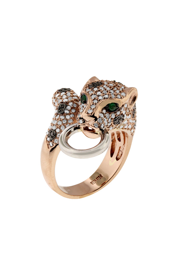 Signature Rose Gold Diamond and Emerald Ring, 1.35 TCW