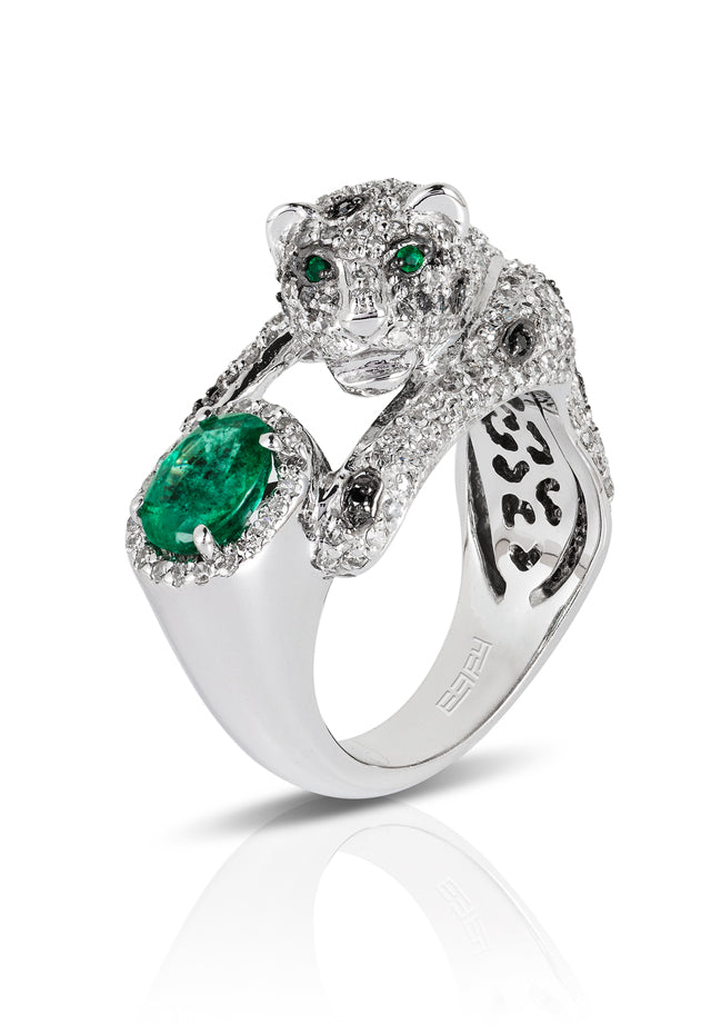 Signature White Gold Diamond and Emerald Ring, 2.38 TCW