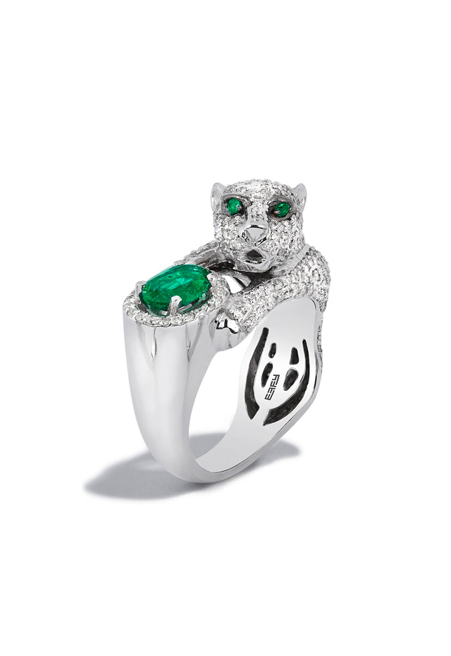 Effy Signature 14K White Gold Diamond and Emerald Ring, 2.31 TCW