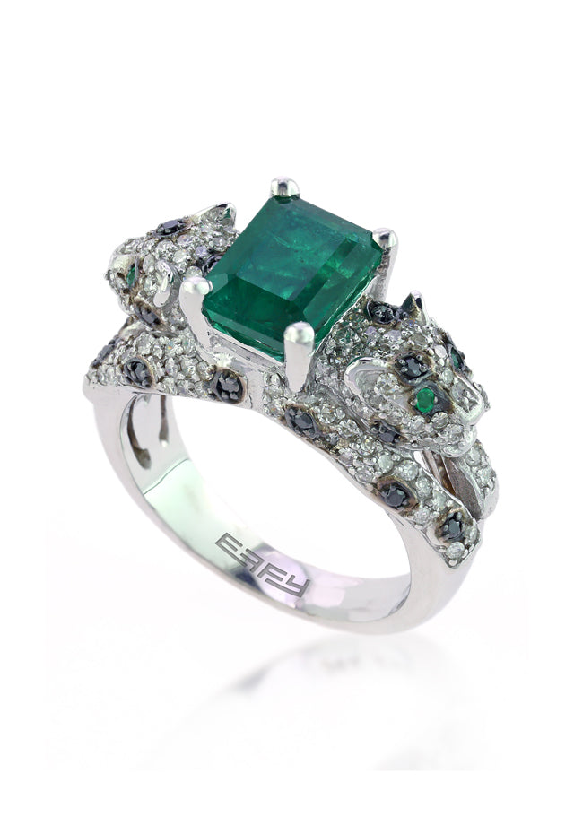 Signature White Gold Emerald and Diamond Ring, 2.98 TCW