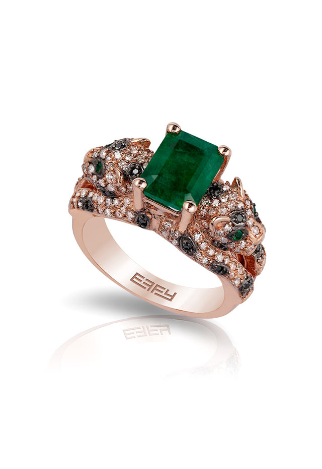 Signature Rose Gold Emerald and Diamond Ring, 2.98 TCW