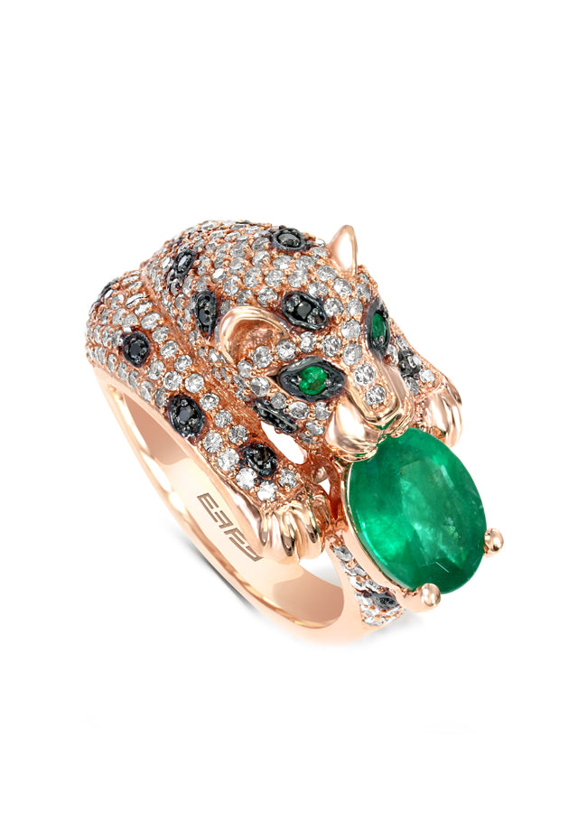Effy Signature 14K Rose Gold Diamond and Emerald Ring, 2.98 TCW