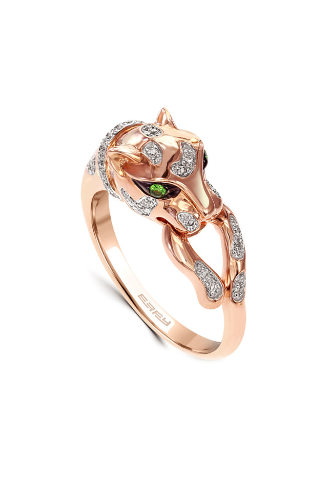 Effy Signature 14K Rose Gold Diamond and Tsavorite Ring, 0.19 TCW