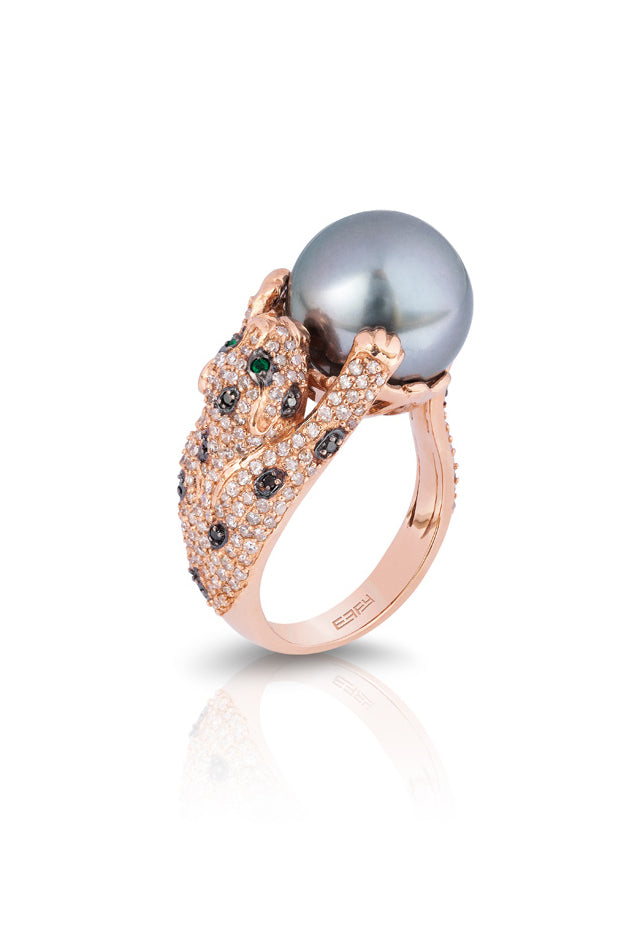 Signature Rose Gold Diamond and Emerald Ring, .96 TCW