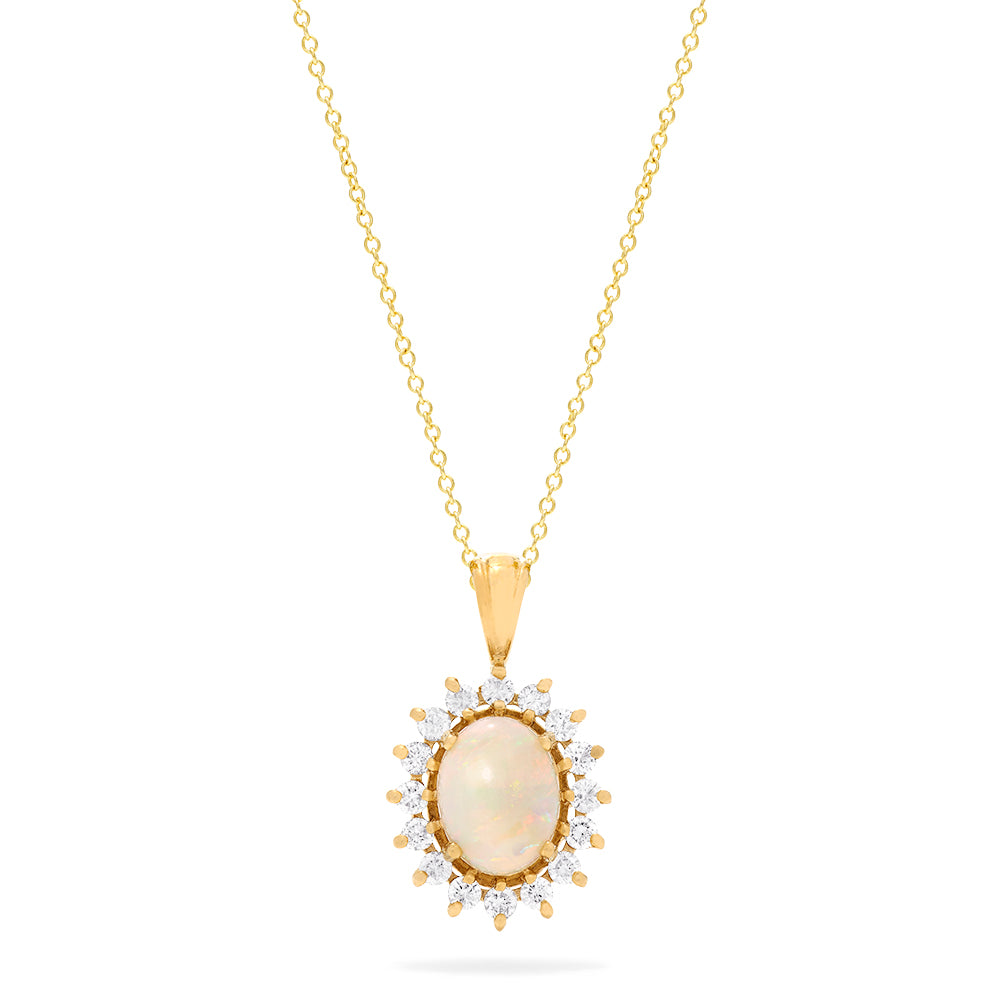 Effy Aurora 14K Yellow Gold Opal and Diamond Pendant, 1.28 TCW
