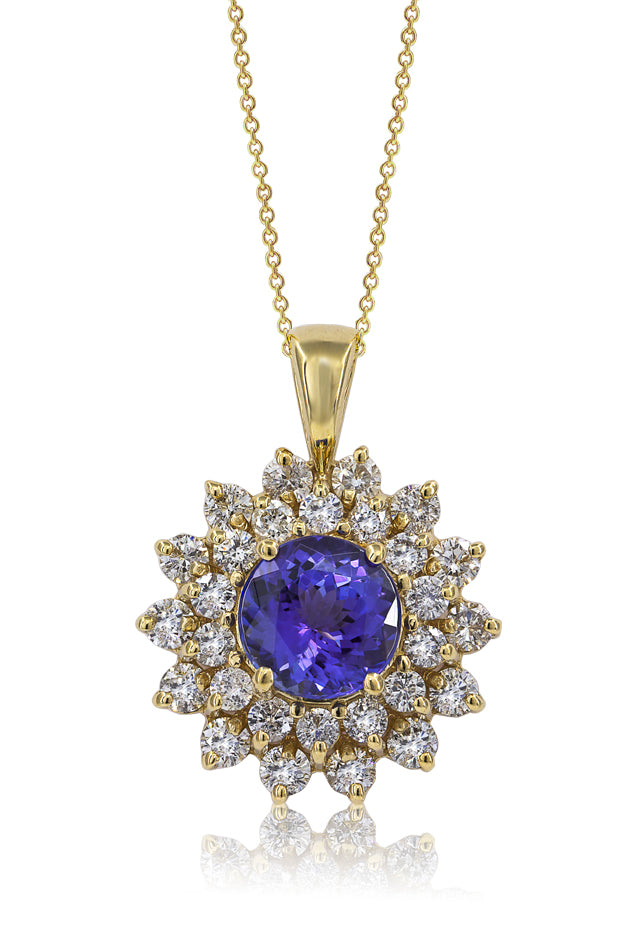 14K Yellow Gold Tanzanite and Diamond Pendant, 3.27 TCW
